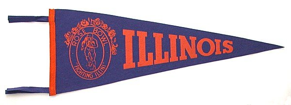 Rose Bowl Pennant - Illinois 1947