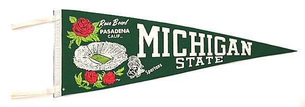 Michigan Rose Bowl Felt Pennant - 1966