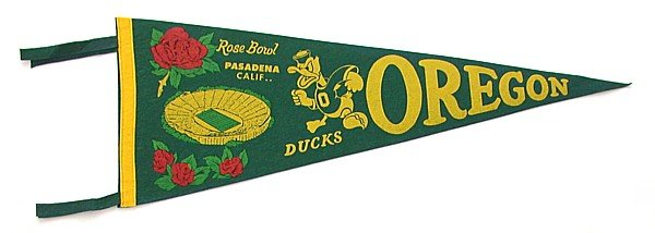 Oregon Rose Bowl Felt Pennant 1958