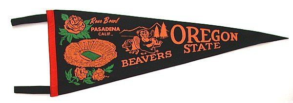 Oregon Rose Bowl Felt Pennant 1965 beavers