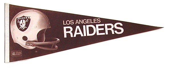 1980S LA RAIDERS Felt FOOTBALL Pennant * LOS