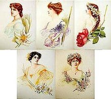 5 old vintage VICTORIAN LITHO prints * ACTRESS