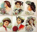 6 old vintage VICTORIAN LITHO prints * FLOWER