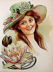 6 old vintage VICTORIAN LITHO prints * FLOWER