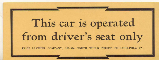 old vintage PENN LEATHER CAR SEAT cardboard ad plaque