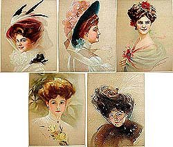 5 old vintage VICTORIAN LITHO PRINTS * ladies