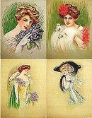 4 old vintage VICTORIAN LITHO PRINTS * LOVELY