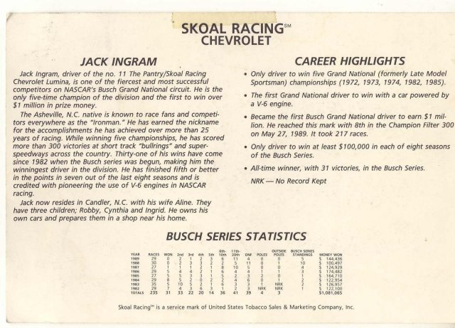 INGRAM SKOAL BANDIT Chevrolet Stat Card ~ vintage