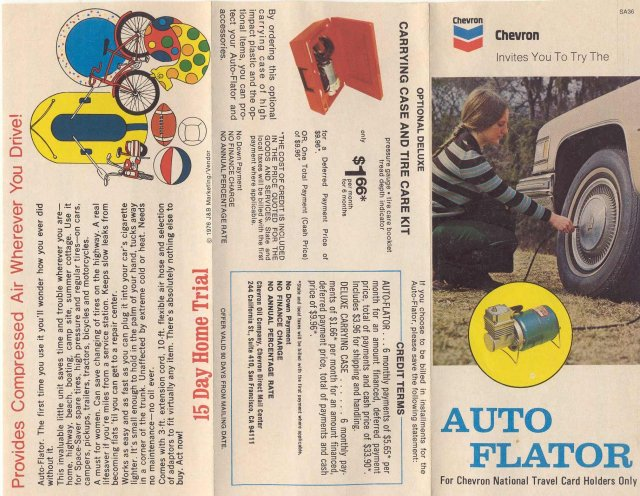 VINTAGE CHEVRON PAMPHLET ~ Auto Flator Ad