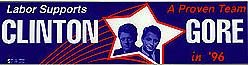 CLINTON GORE BUMPER STICKER 1996