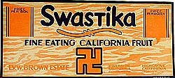 Swastika Pears California Fruit Sign 1920s
