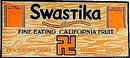 Swastika Pears California Fruit Sign 1920s