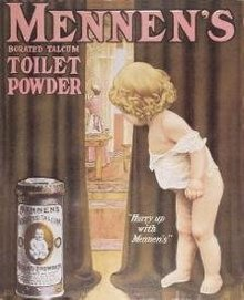 MENNEN'S TOILET SIGN ~ POWDER METAL