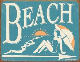 BEACH BATHING SIGN ~ METAL