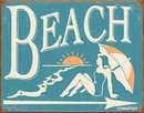 BEACH BATHING SIGN ~ METAL