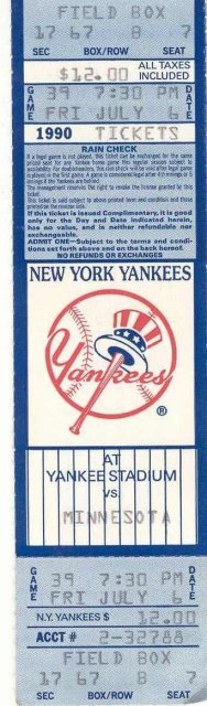 NY Yankees Ticket Stub