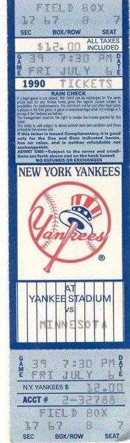 NY Yankees Ticket Stub