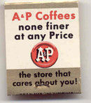 A&P GROCERY COFFEE MATCHBOOK 1940s