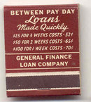 GENERAL FINANCE MATCHBOOK ~ ANdover3