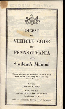 VINTAGE 1950S BOOKLET ~ 1953 PENNSYLVANIA VEHICLE CODE BOOK