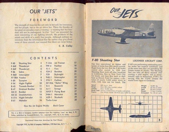 FIGHTING JETS BOOKLET 1952 ~ VINTAGE