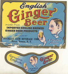 GINGER BEER NECK BOTTLE LABELS 1940S