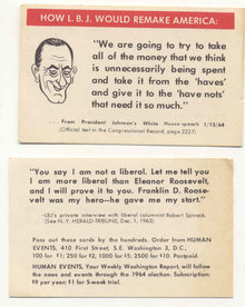 LBJ JOHNSON PROMOTIONAL POLITICAL CARD 1960S