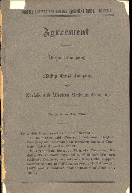 NORFOLK WESTERN RAILWAY Trust Agreement 1903