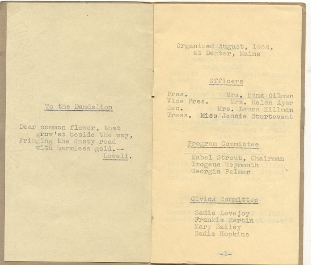 GARDEN CLUB CALENDAR ~ MAINE 1937