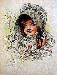 old vintage MAUD HUMPREY LITHO print * child