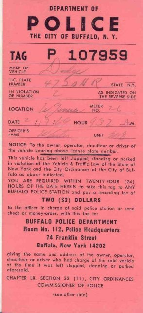Buffalo Police Ticket