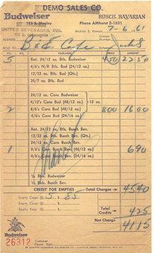 Budweiser Sales Receipt