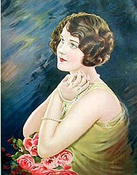 YEARNING LADY LITHO PRINT ~ 1920S