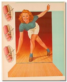 PINUP GIRL BOWLING POSTER SIGN  ~ vintage ice