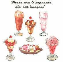6 vintage Die Cut Ice Cream Image Signs