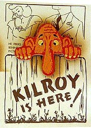 VINTAGE PINBACK ~ KILROY WAS HERE WOODEN PIN