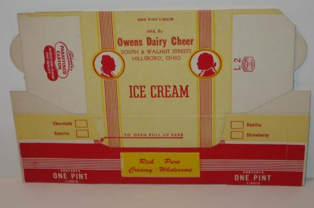 Owens Dairy Ice Cream Box
