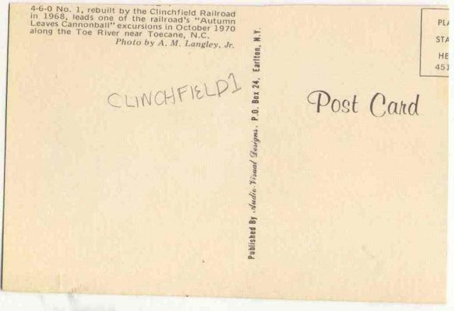 VINTAGE RAILROAD POSTCARD ~ CLINCHFIELD NORTH CAROLINA
