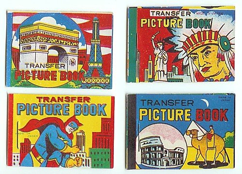 JAPAN TRANSFER PICTURE TOY BOOKLETS ~ 4 OLD