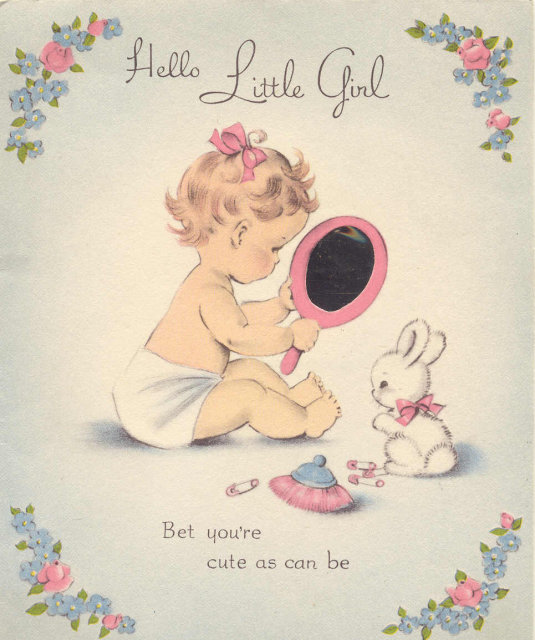 BABY GREETING CARD ~ OLD VINTAGE USED CARD