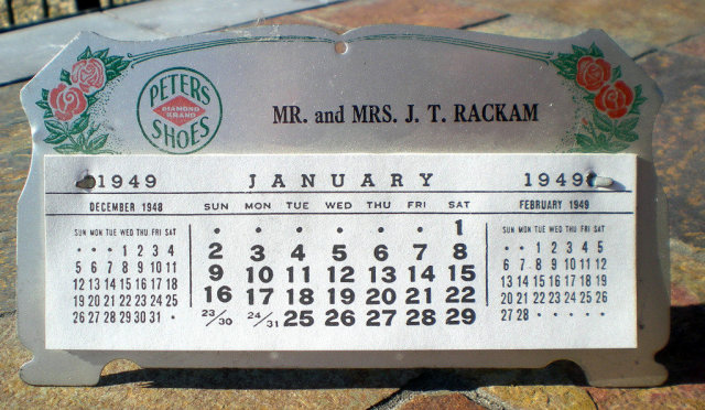Peters Diamond Shoe Calendar 1949