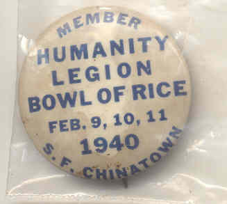 Humanity Legion Rice Pinback 1940