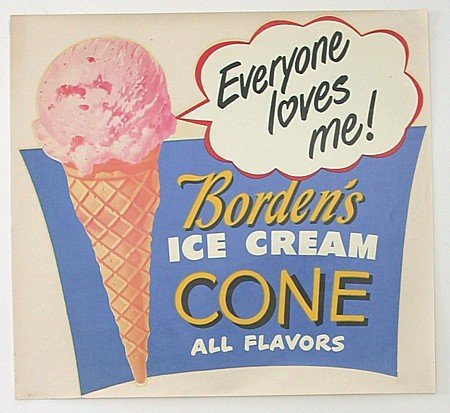 BORDEN'S ICE CREAM SIGN  * OLD VINTAGE SODA
