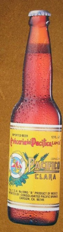 Pacifico Beer Bottle Sign Metal
