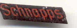 Old Vintage SCHNAPPS Metal tag