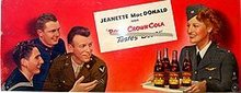 R.C. Cola Soda Sign Jeannette McDonald 1940s