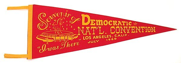 VINTAGE 1960 DEMOCRATIC CONVENTION PENNANT