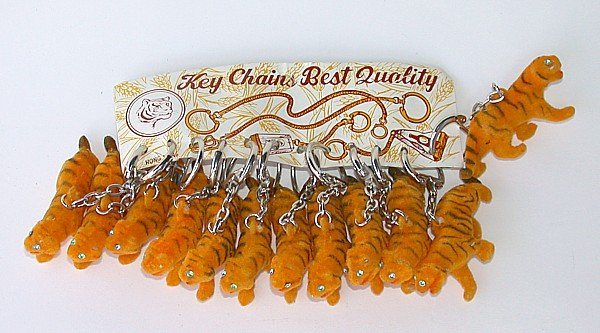 Flocked Tiger Keychain Display Toys
