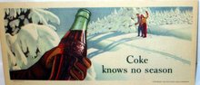 Coca Cola Soda Sking Blotter Sign 1947 COke