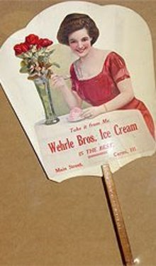 Vintage WEHRLE BROS. ICE CREAM Ad Fan *